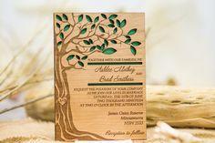 Tree wedding invitation wooden forest by AmazingWoodCraft on Etsy