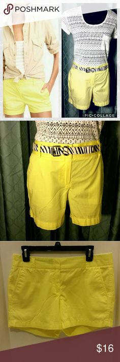 "J. Crew chino broken-in shorts size 8 J. Crew chino broken-in yellow shorts. 100% cotton, zip fly, size 8. In very good preowned condition.  Measurements are approximate taken with garment laying flat: 16""Waist 9"" Front rise 4"" Inseam J. Crew Factory Shorts"