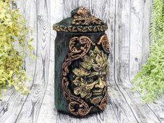 Greenman Apothecary Jar Potion Bottle / Nature Green Man Apothecary Bottle Pagan Decor Wicca God Statue Wiccan Altar Witchy Decor Witch Gift Apothecary Decor, Apothecary Bottles, Wiccan Decor, Wiccan Altar, Witch Jewelry, Pagan Jewelry, Forest Color, Witchcraft Supplies, Pagan Art