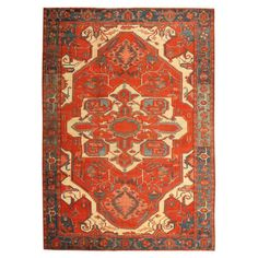Antique Heriz Serapi Rug | From a unique collection of antique and modern persian rugs at http://www.1stdibs.com/furniture/rugs-carpets/persian-rugs/