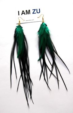Feather Earrings, handmade Miss Black with Emerald, finishing touch ❤