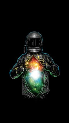cartoon image of an astronaut, opening his suit to reveal a galaxy, cute galaxy wallpaper, black background Wallpapers Android, Cool Galaxy Wallpapers, Android Art, Android Watch, Wallpaper Space, Trendy Wallpaper, Wallpaper Backgrounds, Wallpaper Samsung, Marvel Wallpaper