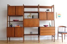 Scandinavian Mid-Century Modern Teak Wall Unit in 3726 West Montrose Avenue, Chicago, IL USA ~ Apartment Therapy Classifieds Mid Century Wall Unit, Mid Century Decor, Mid Century Furniture, Mid Century Design, Bookcase Wall Unit, Wall Units, Wall Shelving, Modular Shelving, Room Shelves