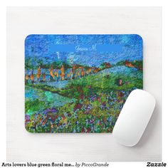 Arts lovers blue green floral meadows custom name mouse pad Custom Mouse Pads, Home Schooling, Marketing Materials, Lovers Art, Back To School, Mothers, Blue Green, Stationery, Parenting