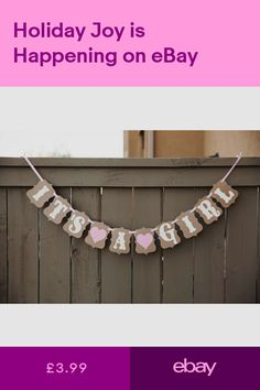 It's A Girl Baby Shower Bunting Party Banner Garland Photo Props Decor Sign Baby Shower Bunting, Baby Boy Shower, Bunting Garland, Buntings, Garlands, Baby Shower Parties, Baby Showers, Party Props, Nursery