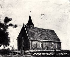 Shepherd with Flock near a Little Church at Zweeloo - Vincent van Gogh