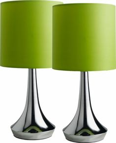 COLOUR MATCH PAIR OF TOUCH TABLE LAMPS - APPLE GREEN | eBay