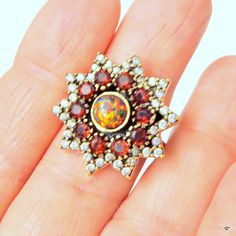 Red Fire Opal Garnet Ring CZ Ring Yellow by Steampunkitis on Etsy, $59.00