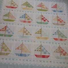I love every thing about this quilt! Baby Sewing Projects, Quilting Projects, Quilting Designs, Quilt Design, Quilting Ideas, Nautical Quilt, Summer Quilts, Baby Boy Quilts, Sail Boats