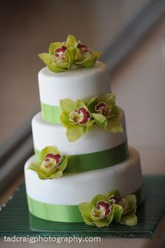 White cake with green ruban and green orchids. #weddings #cake Edible Flowers Cake, Fresh Flower Cake, Fresh Flowers, New Cake Design, Cake Designs, White Wedding Cakes, Cool Wedding Cakes, Beautiful Cakes, Amazing Cakes