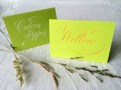1 Calligraphy Place Card, May Green Card Board, with White or Tangerine Ink by Federflug, €1.50