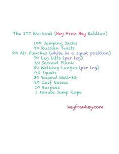 Daily workout challenge via HeyFranHey