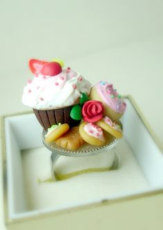 Tea Party Ring. Handmade Miniature Polymer Clay Food Jewelry. Cupcake Ring. Cocktail Ring. Food Jewelry.. $30.00, via Etsy.