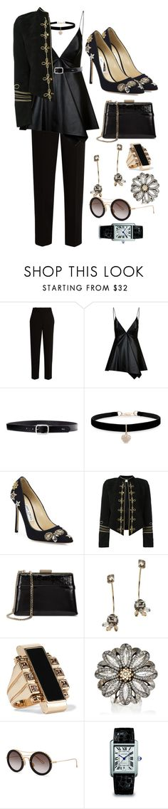 """""""Full black look"""" by quocanh1383 ❤ liked on Polyvore featuring The Row, Valentino, Lauren Ralph Lauren, Betsey Johnson, Jimmy Choo, Yves Saint Laurent, Lanvin, Elie Saab and Cartier"""