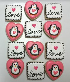 LOVE and Penguins Valentine Decorated Sugar Cookies by I AM the Cookie Lady