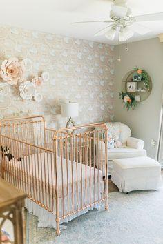 Vintage modern girl's nursery with rose gold crib baby girl nursery Gold Baby Nursery, Gold Nursery Decor, Rose Nursery, Baby Girl Nursery Themes, Chic Nursery, Baby Room Decor, Nursery Ideas, Princess Nursery, Project Nursery