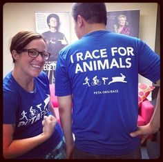"""The new """"I Race for Animals"""" #PETAPack performance T-shirts are here! They will be mailed out to all our registered participants: www.peta.org/race"""