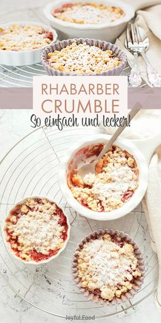 Recipe for super easy and tasty rhubarb crumble - crumble. Also suitable for Thermomix and # Recipe for super easy and tasty rhubarb crumble - crumble. Also suitable for Thermomix and # Rhubarb Crumble, Evening Meals, Food Items, Easy Peasy, Mousse, Dessert Recipes, Food And Drink, Stuffed Peppers, Snacks