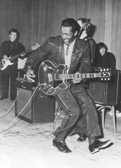 Chuck Berry. The first artist of color to really and truly be adored be fans of all races. A first class talent who wrote, sang and played a mean guitar to his own compositions. A true trail blazer who also had to endure and survive the bigotry of the day. I consider him to be Rock 'n Roll's answer to baseball's Jackie Robinson.
