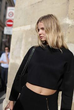#MagdalenaFrackowiak working a cropped blackout. aces. #offduty in Paris.