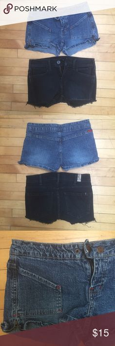 😍 2 pairs of Tilt Denim Shorts Size 1 & 3 😍 2 pairs of jeans shorts. The lighter ones are made by Tilt (bought at Pacific Sunwear) and are Size 1. I think they run a little big bough because I normally am a size 3. Other pair I bought at a sample sale and cut them shorter. I think they are a size 3. ❗❗️️Cyber Monday BOGO! Buy any item over $10, and get 1 item $10 or less for free! See my BOGO listing for details!❗️❗️ tilt Shorts Jean Shorts