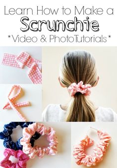 Sewing For Beginners Easy Tutorial: Easy hair scrunchie - Hair scrunchies are easy to sew and a good way to use up some of your fabric scraps! Simple Simon shares a tutorial showing how you can make one in just a few easy steps. They include step by ste… Sewing Hacks, Sewing Tutorials, Sewing Tips, Free Tutorials, Rag Wreath Tutorial, How To Make Scrunchies, Hair Scrunchies, Leftover Fabric, Love Sewing