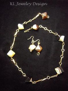 Brown and Green Quartzsite Necklace and Earring Set by KL Jewelry Design $25