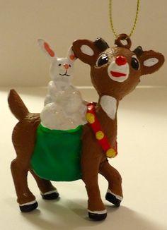 Rudolph the Red Nosed Reindeer with Bunny Kurt Adler Christmas Ornament by Kurt Adler