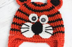 Repeat Crafter Me: Crochet Tiger Hat Pattern ~For Jordan, he is all about Daniel the TIger~