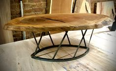 Sycamore Maple Live Edge Disc Coffee Table on steel base - one available Maple Furniture, Live Edge Furniture, Wood Furniture, Furniture Ideas, Wood Steel, Raw Wood, Wood Slab, Wood And Metal, Tree Coffee Table