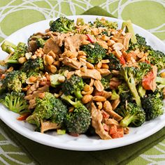Kalyn's Kitchen®: Chicken, Broccoli, and Red Bell Pepper Salad Recipe with Peanut Butter Dressing