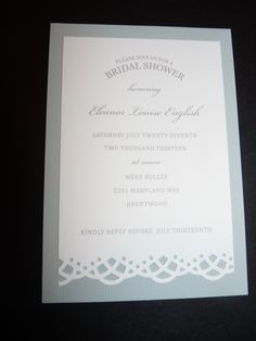 Could try to make...two sizes/colors flat cards and edge stamp? Elegant bridal shower invitation @Darby Casey Kemp