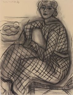 Henri Matisse ~ Seated Young Woman in Net Dress, 1939 (charcoal on paper)  https://www.artexperiencenyc.com/social_login/?utm_source=pinterest_medium=pins_content=pinterest_pins_campaign=pinterest_initial