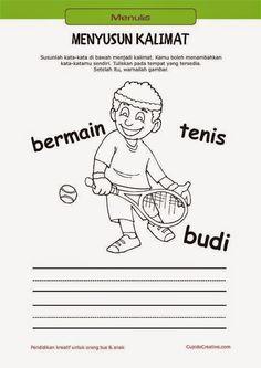 belajar membaca & menulis anak TK/SD, menyusun kata menjadi kalimat & mewarnai gambar orang bermain tenis