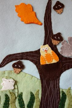 felt board pattern - seasonal tree with wool felt