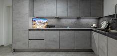 Hauswirtschaftsraum in Betonoptik Buffet, Kitchen Cabinets, Storage, Furniture, Home Decor, Custom Kitchens, Made To Measure Furniture, Carpentry, Home Architect
