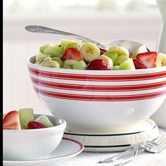 "Glazed Fruit Medley Recipe -""The orange dressing on this salad complements the fresh fruit flavors beautifully,"" says Karen Bourne, a TOH field editor from Magrath, Alberta. ""It's perfect for a spring or summer brunch."""