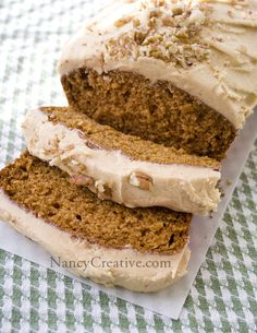 awesome pumpkin bread with yummy buttercream spread