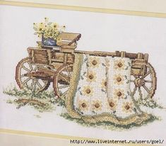 """Sunflower Romance ~ Quilts From The Garden"" a cross stitch pattern by Paula Vaughan.  Saved from liveinternet.ru"