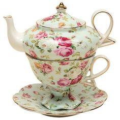 Gracie China by Coastline Imports Gracie China 4-Piece Porcelain Tea... ($17) ❤ liked on Polyvore