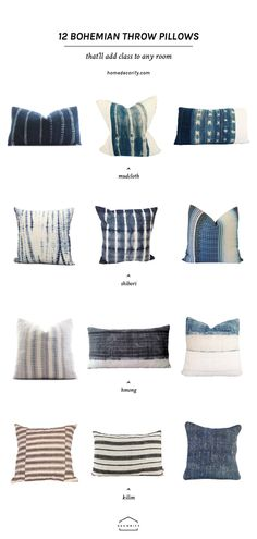 Add a little boho style to any room with these bohemian throw pillows. From mudcloth, to shibori, to hmong batik and kilim, there's a style for everyone's taste!