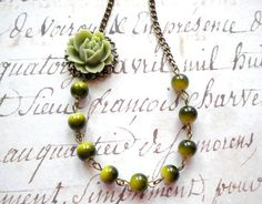 Flower Necklace Rose Necklace Green Bridesmaid by elinacreations, $24.00