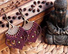 Macrame earrings for a gypsy soul tribal goddess by QuetzArt