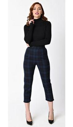 851951a5aed4 Hell Bunny 1950s Style Navy Blue Tartan Livingstone Cigarette Capri Plaid  Pants Outfit, Tartan Pants