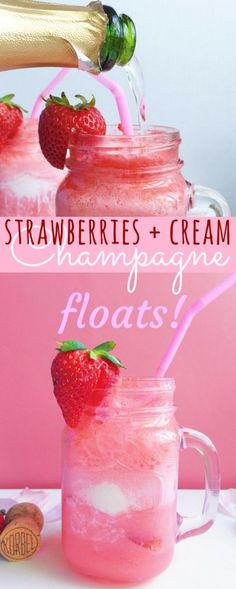 Sparkling Strawberries + Cream Champagne Floats! They're fizzy. Fruity. Sparkly, Refreshing. And SO delicious! The pretty pink hue is the perfect drink for a bridal shower, bachelorette party, or baby shower (without the champagne). The perfect boozy ice cream float!