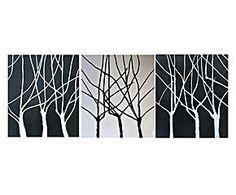 Composición De 3 cuadros pintados a mano sobre tela Weave