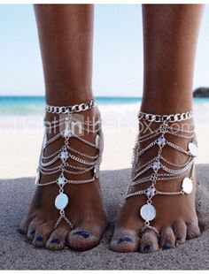 Buy Gold Ankle Bracelets for Women, Get the best deal for Fashion Anklets from the largest wholesale ankets online selection at egubuy.We have a unique collection of Anklets for retailers throughout the world. Body Chains, Body Jewelry Chains, Fashion Necklace, Fashion Jewelry, Women Jewelry, Gold Fashion, Fashion Boots, Coin Pendant, Bare Foot Sandals