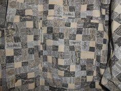COLUMBIA Men Size XL XLarge Beige/Brown Fish Design Squares Button Up Shirt S/S #Columbia #ButtonFront