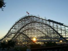 Texas Cyclone at sunset. Astroworld's metal towers and wooden wonders are no more - just a grassy field now. 3/29/2015-This was  a phenomenal coaster to ride. Susan