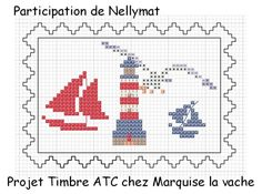 ATC timbre Nellymat Phare et Voiles Cross Stitch Sea, Simple Cross Stitch, Cross Stitch Charts, Cross Stitch Patterns, Cross Stitching, Cross Stitch Embroidery, Navy Cross, Cross Stitch Landscape, Summer Patterns